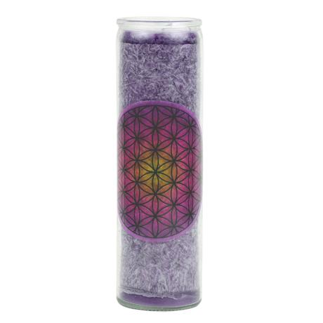 Blume des Lebens violett in Glas1